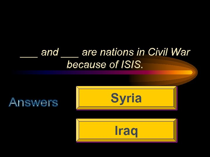 ___ and ___ are nations in Civil War because of ISIS. Syria Iraq