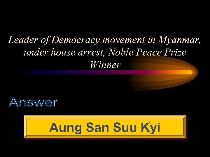 Leader of Democracy movement in Myanmar, under house arrest, Noble Peace Prize Winner Aung