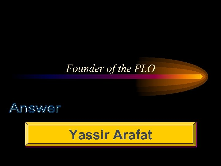 Founder of the PLO Yassir Arafat