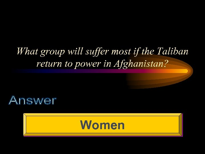 What group will suffer most if the Taliban return to power in Afghanistan? Women
