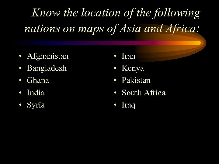 Know the location of the following nations on maps of Asia and Africa: •