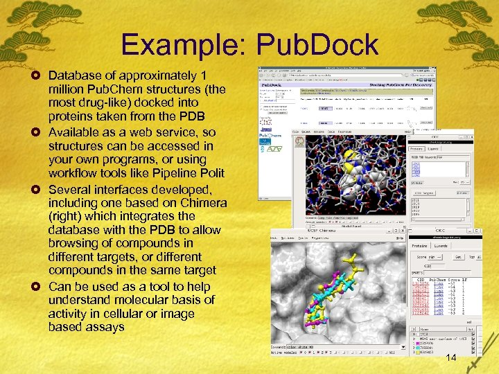 Example: Pub. Dock £ Database of approximately 1 million Pub. Chem structures (the most