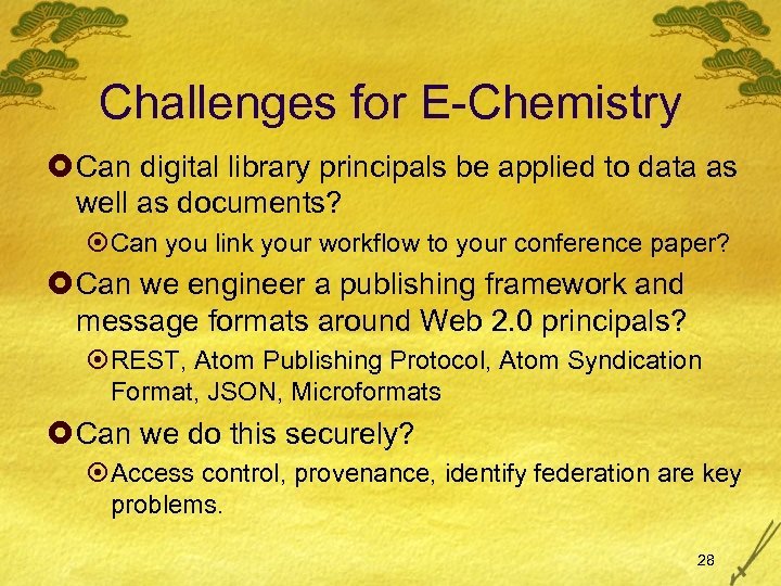 Challenges for E-Chemistry £ Can digital library principals be applied to data as well