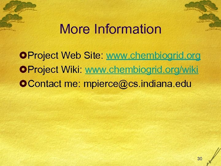 More Information £Project Web Site: www. chembiogrid. org £Project Wiki: www. chembiogrid. org/wiki £Contact