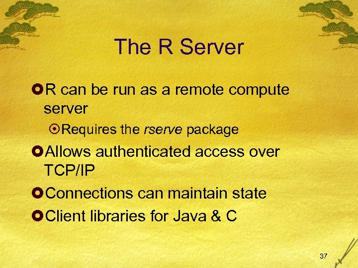 The R Server £R can be run as a remote compute server ¤Requires the