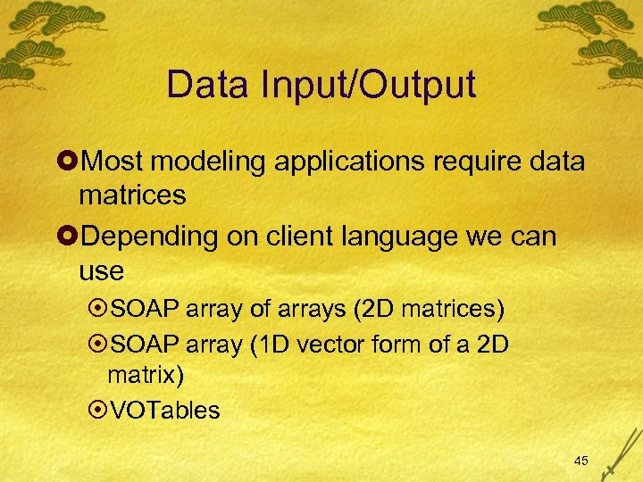 Data Input/Output £Most modeling applications require data matrices £Depending on client language we can