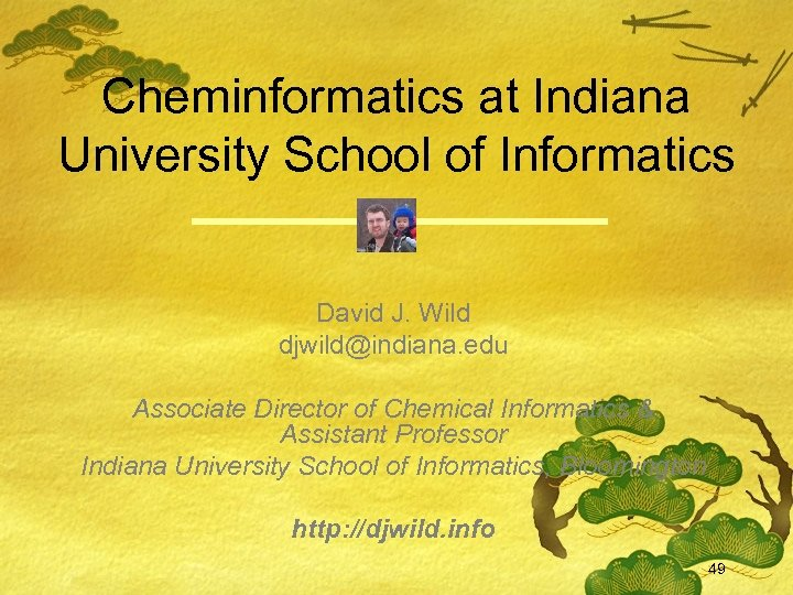 Cheminformatics at Indiana University School of Informatics David J. Wild djwild@indiana. edu Associate Director