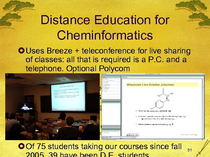 Distance Education for Cheminformatics £ Uses Breeze + teleconference for live sharing of classes:
