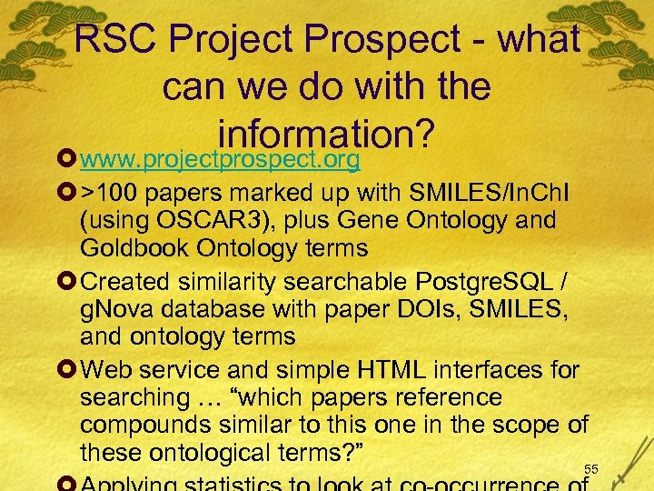 RSC Project Prospect - what can we do with the information? £ www. projectprospect.