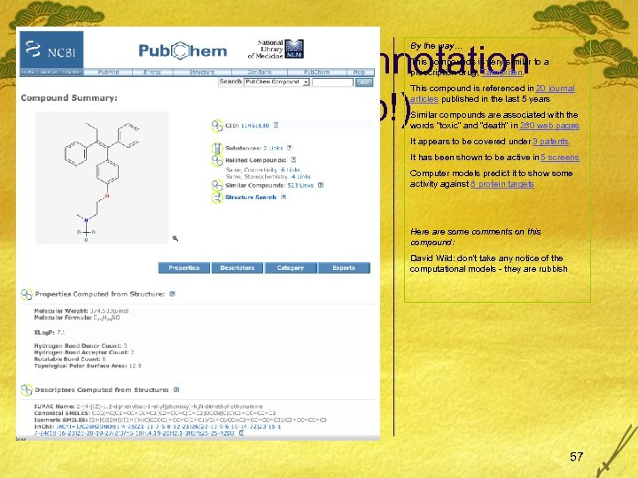 By the way… annotation (mock-up!) By the way… This compounds is very similar to