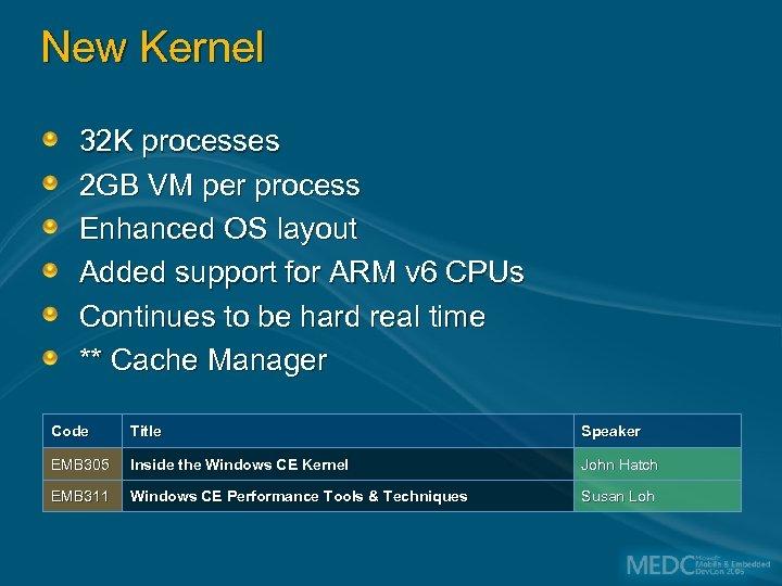 New Kernel 32 K processes 2 GB VM per process Enhanced OS layout Added
