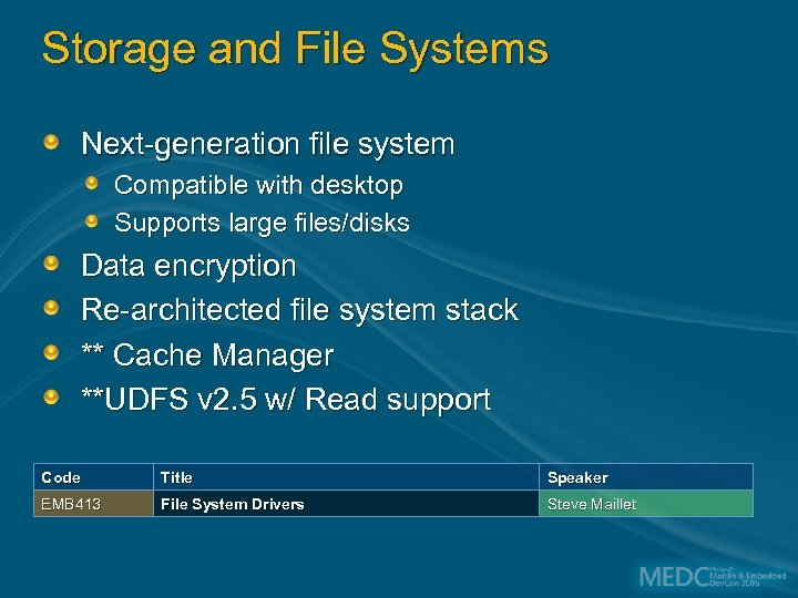 Storage and File Systems Next-generation file system Compatible with desktop Supports large files/disks Data