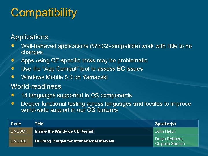 Compatibility Applications Well-behaved applications (Win 32 -compatible) work with little to no changes Apps