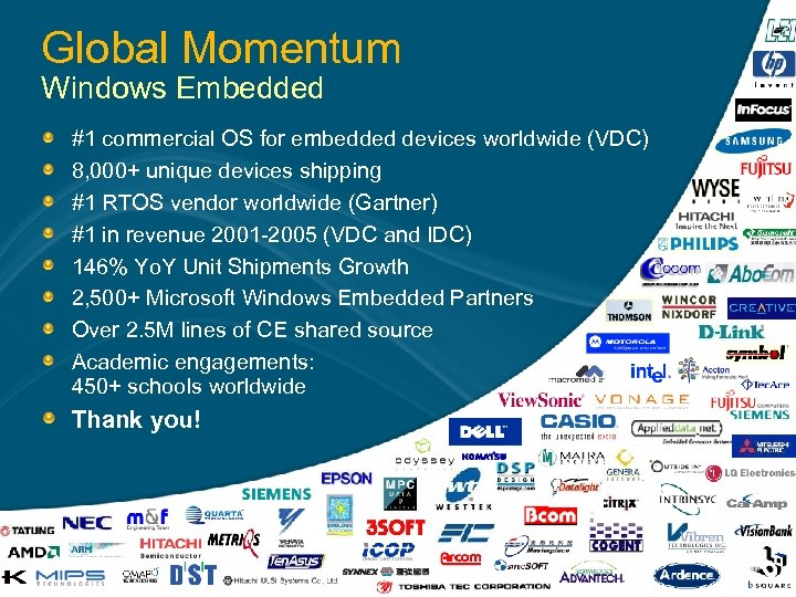 Global Momentum Windows Embedded #1 commercial OS for embedded devices worldwide (VDC) 8, 000+