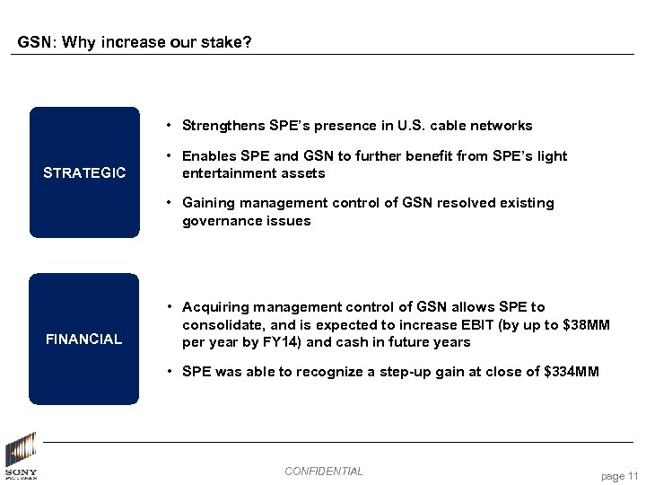 GSN: Why increase our stake? • Strengthens SPE's presence in U. S. cable networks