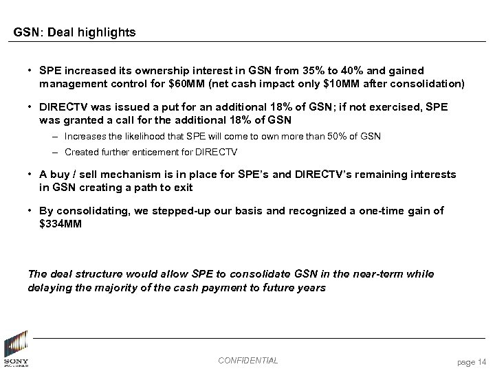 GSN: Deal highlights • SPE increased its ownership interest in GSN from 35% to