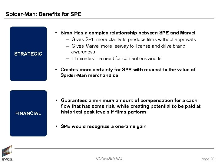 Spider-Man: Benefits for SPE STRATEGIC • Simplifies a complex relationship between SPE and Marvel