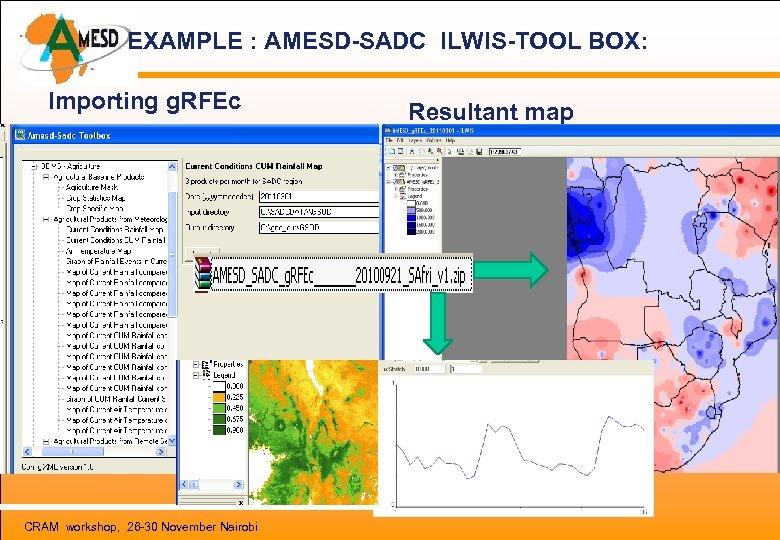 EXAMPLE : AMESD-SADC ILWIS-TOOL BOX: Importing g. RFEc CRAM workshop, 26 -30 November Nairobi