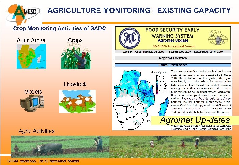 AGRICULTURE MONITORING : EXISTING CAPACITY Crop Monitoring Activities of SADC Agric Areas Crops Livestock