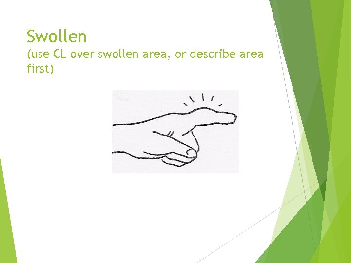 Swollen (use CL over swollen area, or describe area first)