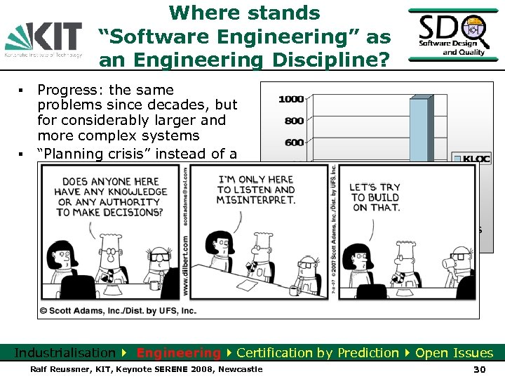 "Where stands ""Software Engineering"" as an Engineering Discipline? ▪ Progress: the same problems since"