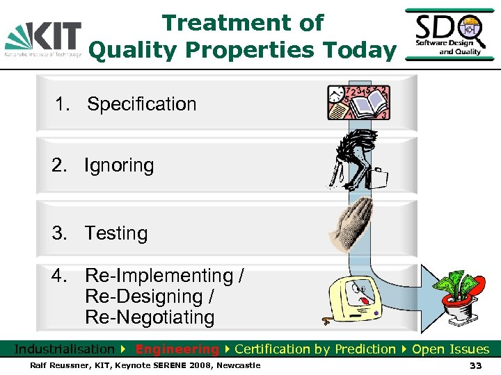 Treatment of Quality Properties Today 1. Specification 2. Ignoring 3. Testing 4. Re-Implementing /