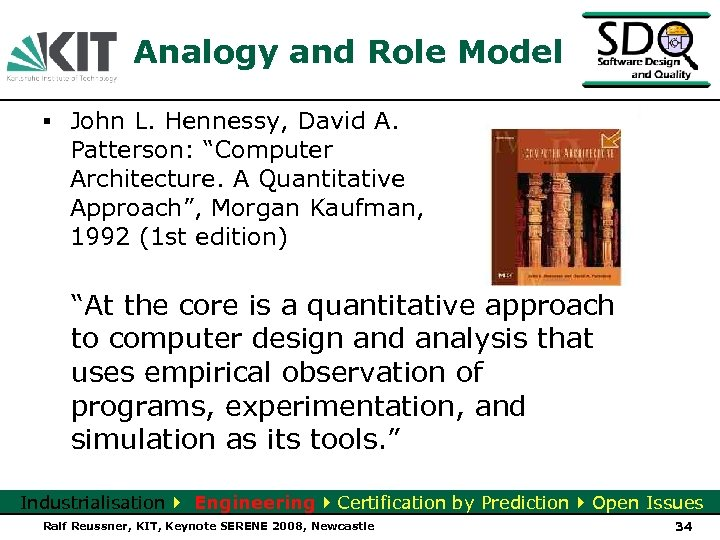 "Analogy and Role Model ▪ John L. Hennessy, David A. Patterson: ""Computer Architecture. A"