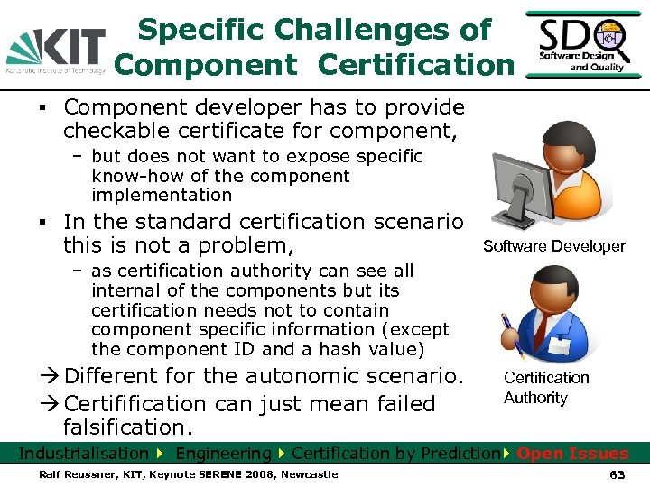 Specific Challenges of Component Certification ▪ Component developer has to provide checkable certificate for