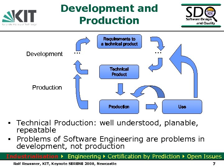 Development and Production Development . . . Requirements to a technical product . .