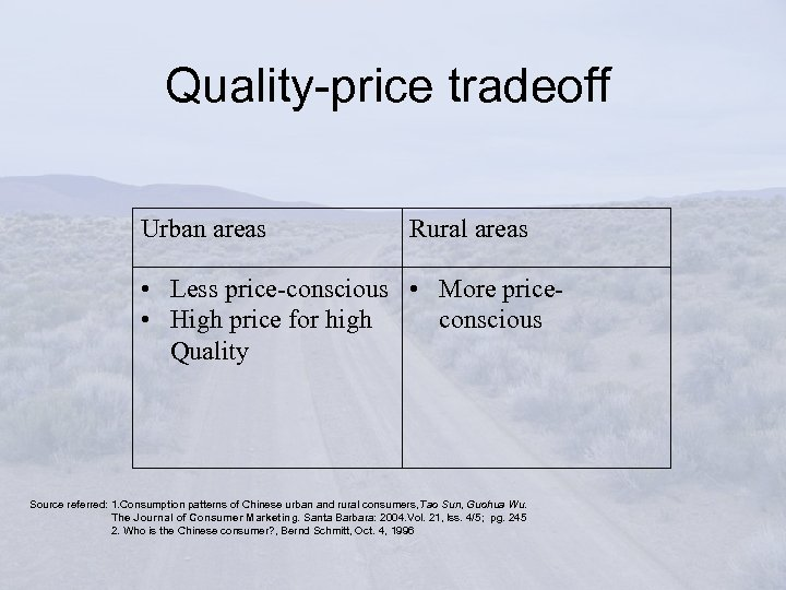 Quality-price tradeoff Urban areas Rural areas • Less price-conscious • More price • High