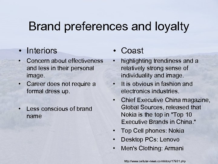 Brand preferences and loyalty • Interiors • Coast • Concern about effectiveness and less