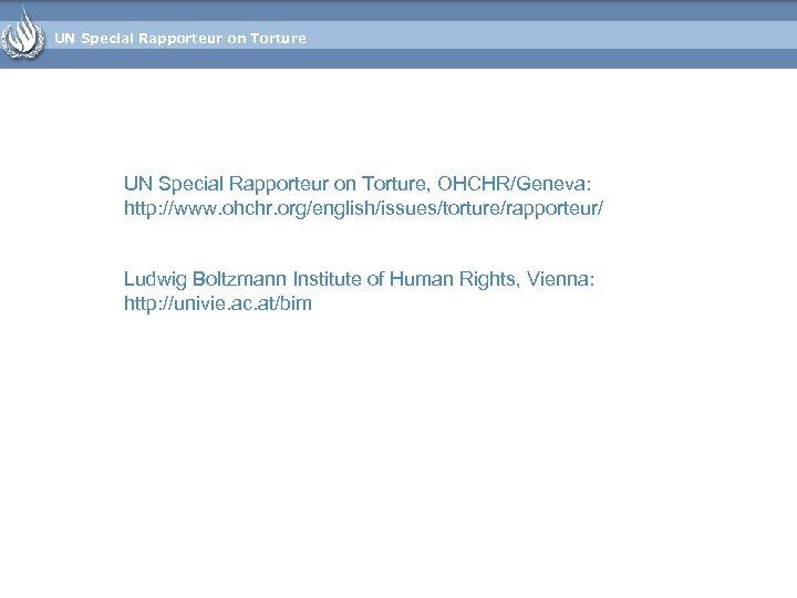 UN Special Rapporteur on Torture, OHCHR/Geneva: http: //www. ohchr. org/english/issues/torture/rapporteur/ Ludwig Boltzmann Institute of