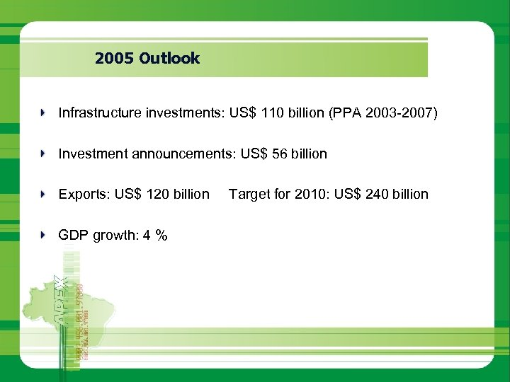 2005 Outlook Infrastructure investments: US$ 110 billion (PPA 2003 -2007) Investment announcements: US$ 56