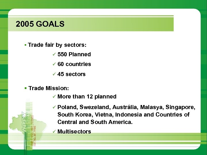 2005 GOALS § Trade fair by sectors: ü 550 Planned ü 60 countries ü