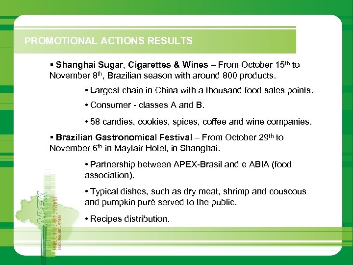PROMOTIONAL ACTIONS RESULTS § Shanghai Sugar, Cigarettes & Wines – From October 15 th