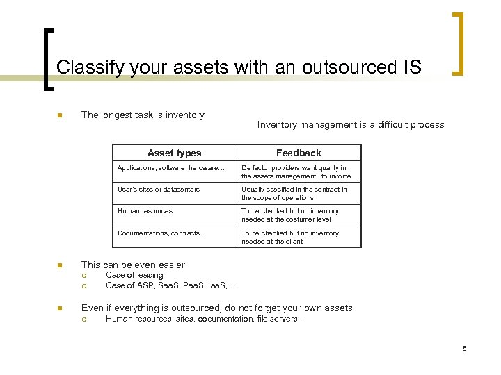 Classify your assets with an outsourced IS n The longest task is inventory Asset