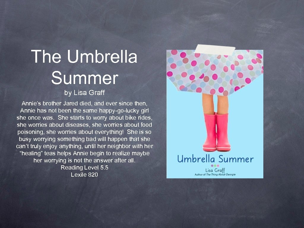 The Umbrella Summer by Lisa Graff Annie's brother Jared died, and ever since then,