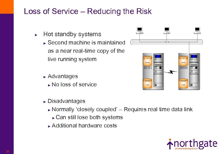 Loss of Service – Reducing the Risk ► Hot standby systems Second machine is