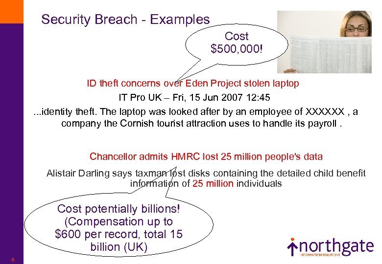 Security Breach - Examples Cost $500, 000! ID theft concerns over Eden Project stolen