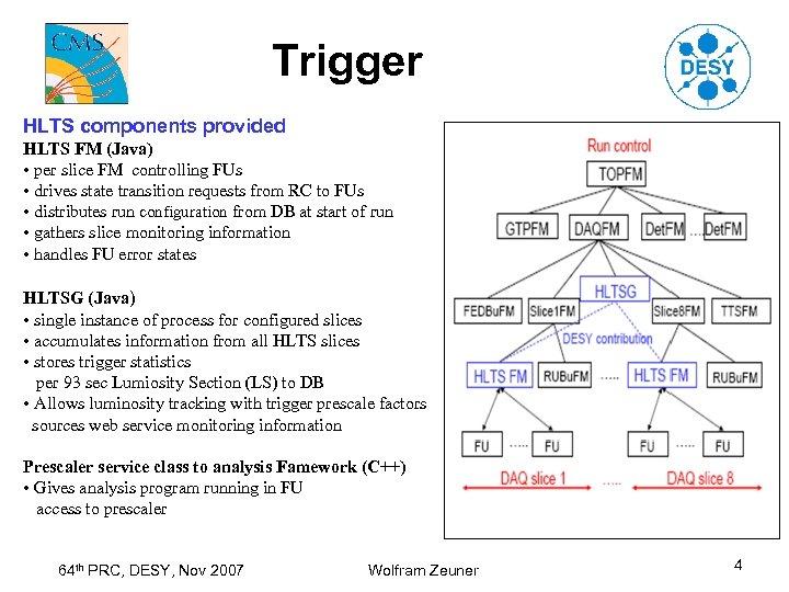 Trigger HLTS components provided HLTS FM (Java) • per slice FM controlling FUs •
