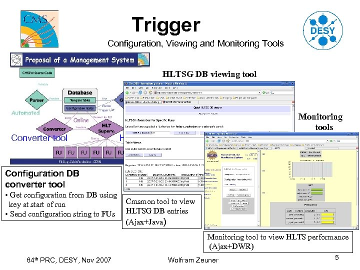 Trigger Configuration, Viewing and Monitoring Tools HLTSG DB viewing tool Monitoring tools Converter tool