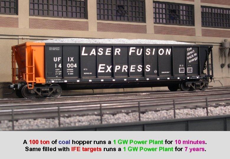 A 100 ton of coal hopper runs a 1 GW Power Plant for 10