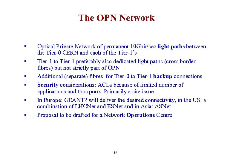 The OPN Network § § § Optical Private Network of permanent 10 Gbit/sec light