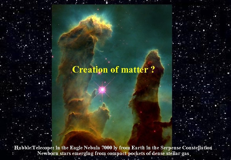 Creation of matter ? Hubble Telecope: in the Eagle Nebula 7000 ly from Earth