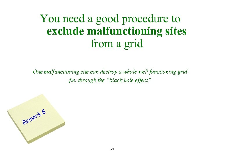 You need a good procedure to exclude malfunctioning sites from a grid One malfunctioning