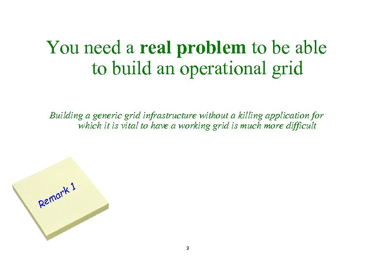 You need a real problem to be able to build an operational grid Building