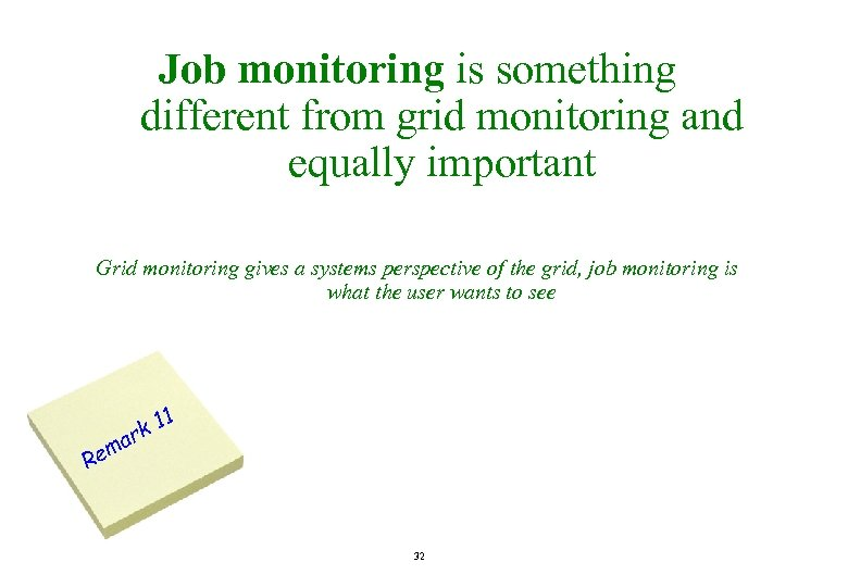 Job monitoring is something different from grid monitoring and equally important Grid monitoring gives