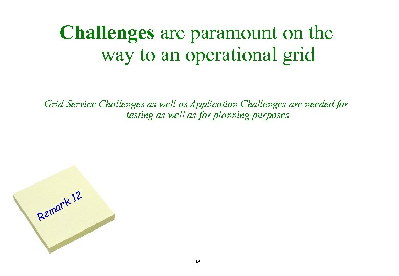 Challenges are paramount on the way to an operational grid Grid Service Challenges as