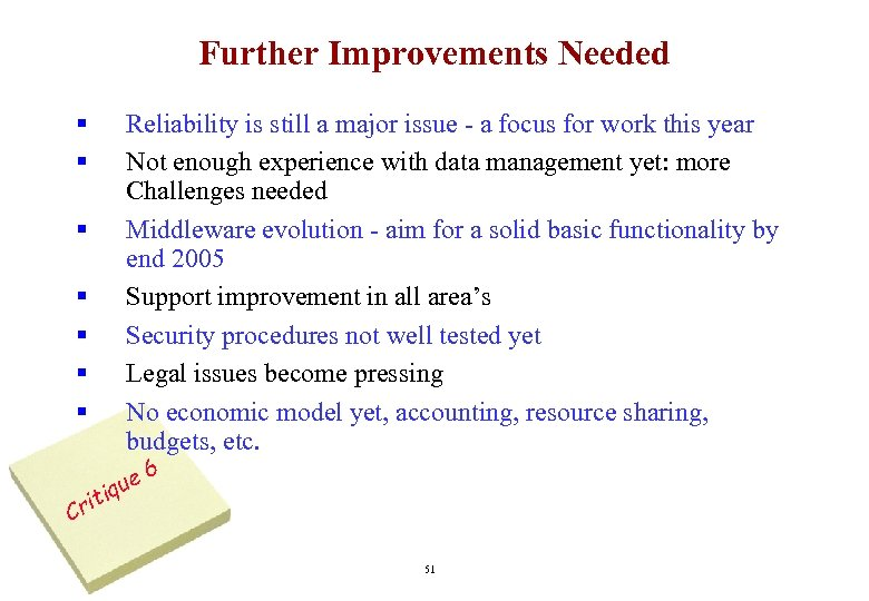 Further Improvements Needed § § § § C Reliability is still a major issue
