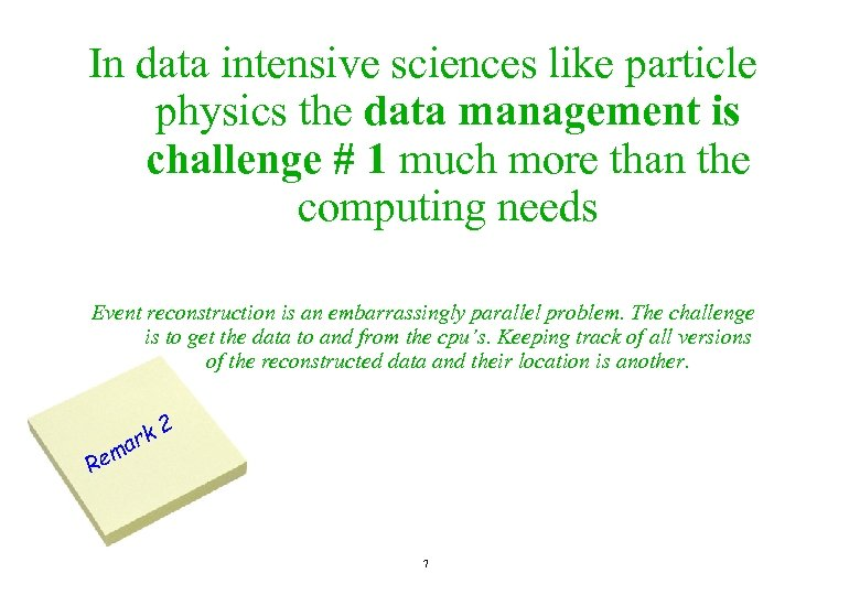 In data intensive sciences like particle physics the data management is challenge # 1